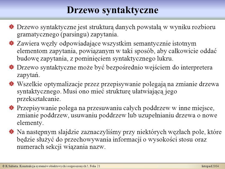 Drzewo syntaktyczneDrzewo syntaktyczne jest strukturą danych powstałą w wyniku rozbioru gramatycznego (parsingu) zapytania.