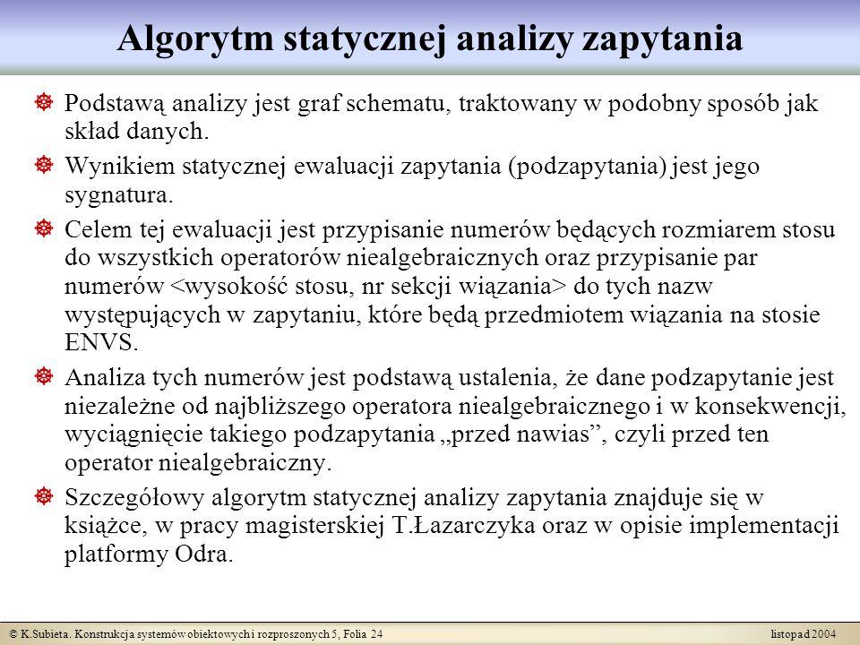 Algorytm statycznej analizy zapytania