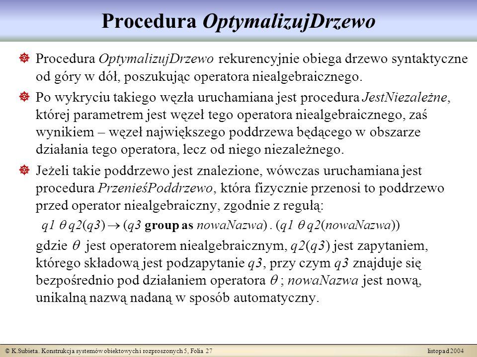 Procedura OptymalizujDrzewo