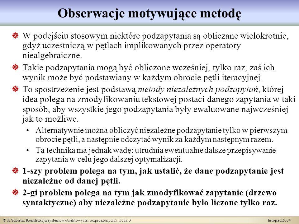 Obserwacje motywujące metodę