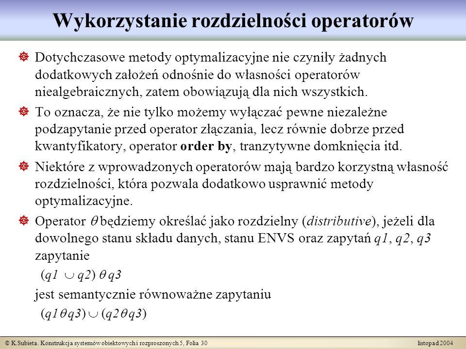 Wykorzystanie rozdzielności operatorów