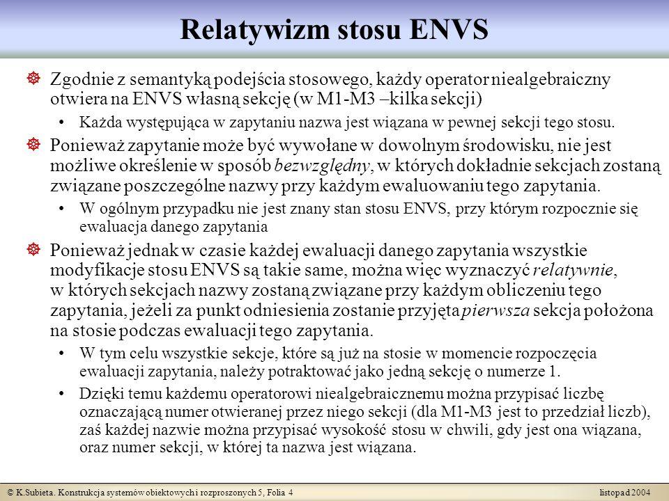 Relatywizm stosu ENVSZgodnie z semantyką podejścia stosowego, każdy operator niealgebraiczny otwiera na ENVS własną sekcję (w M1-M3 –kilka sekcji)