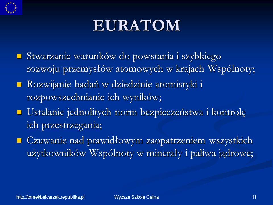 EURATOM Stwarzanie warunków do powstania i szybkiego rozwoju przemysłów atomowych w krajach Wspólnoty;