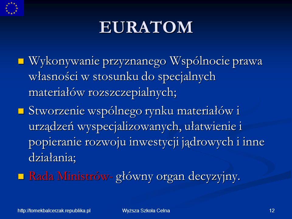 EURATOM Wykonywanie przyznanego Wspólnocie prawa własności w stosunku do specjalnych materiałów rozszczepialnych;