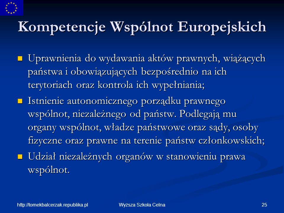 Kompetencje Wspólnot Europejskich