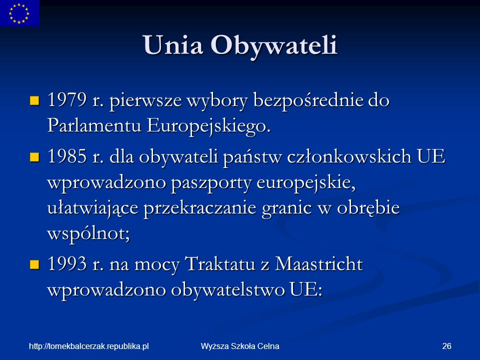 Unia Obywateli 1979 r. pierwsze wybory bezpośrednie do Parlamentu Europejskiego.