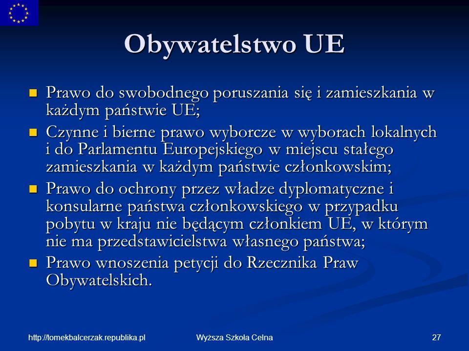 Obywatelstwo UE Prawo do swobodnego poruszania się i zamieszkania w każdym państwie UE;