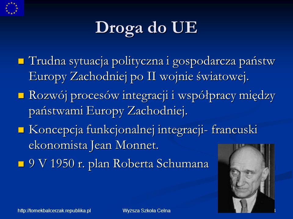 Droga do UE Trudna sytuacja polityczna i gospodarcza państw Europy Zachodniej po II wojnie światowej.