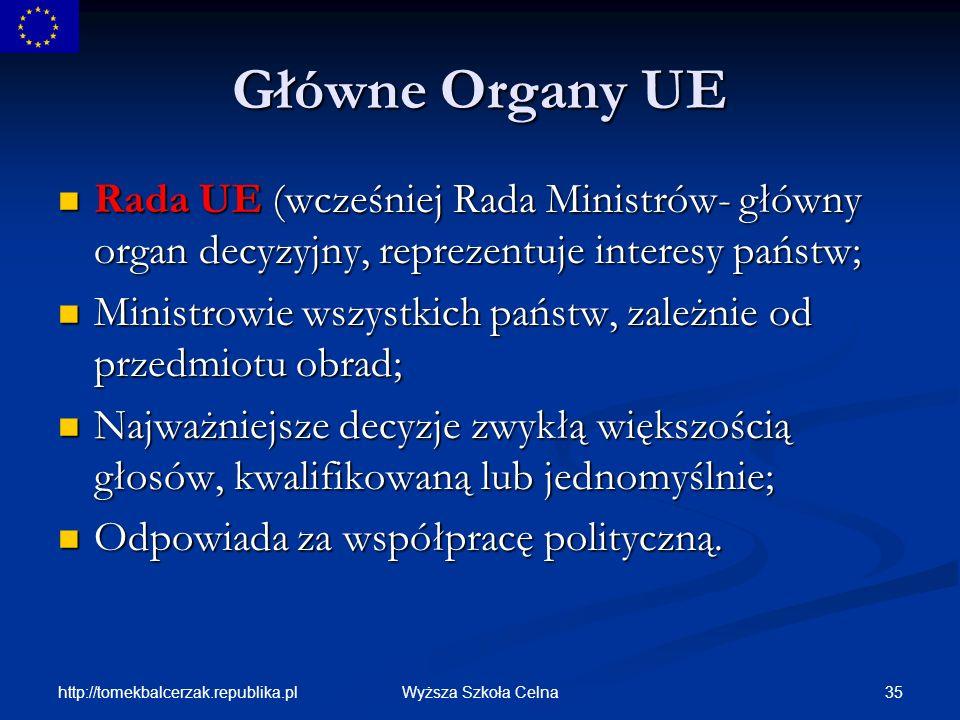 Główne Organy UERada UE (wcześniej Rada Ministrów- główny organ decyzyjny, reprezentuje interesy państw;