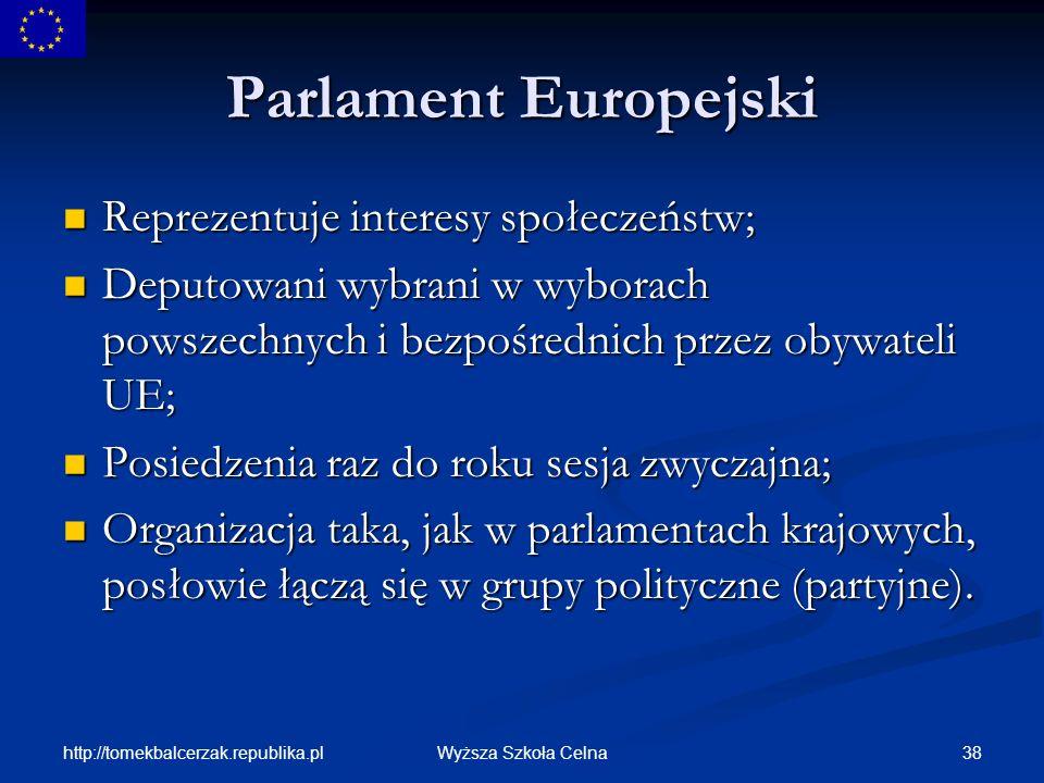 Parlament Europejski Reprezentuje interesy społeczeństw;