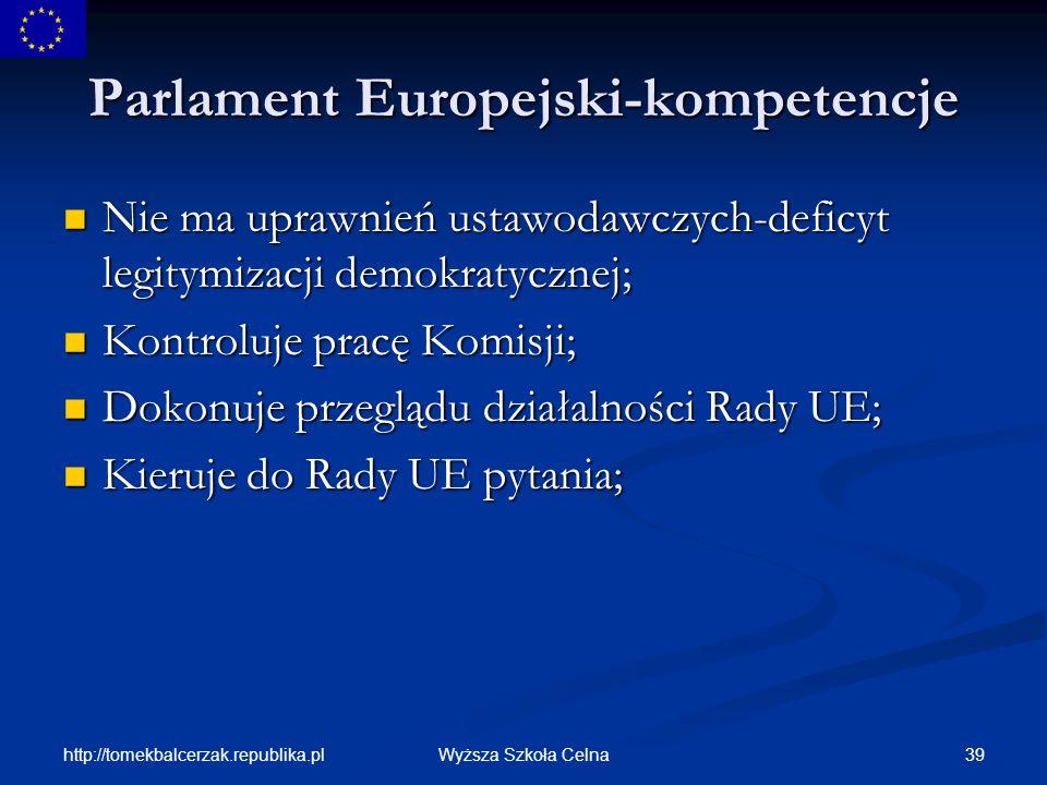 Parlament Europejski-kompetencje