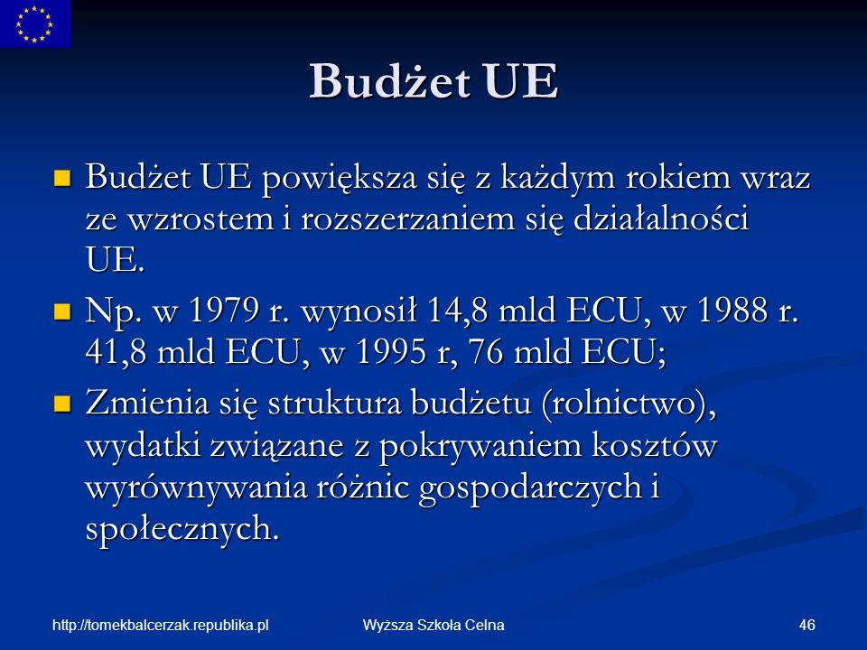Budżet UE Budżet UE powiększa się z każdym rokiem wraz ze wzrostem i rozszerzaniem się działalności UE.