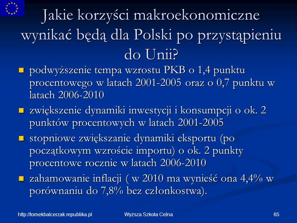 Jakie korzyści makroekonomiczne wynikać będą dla Polski po przystąpieniu do Unii
