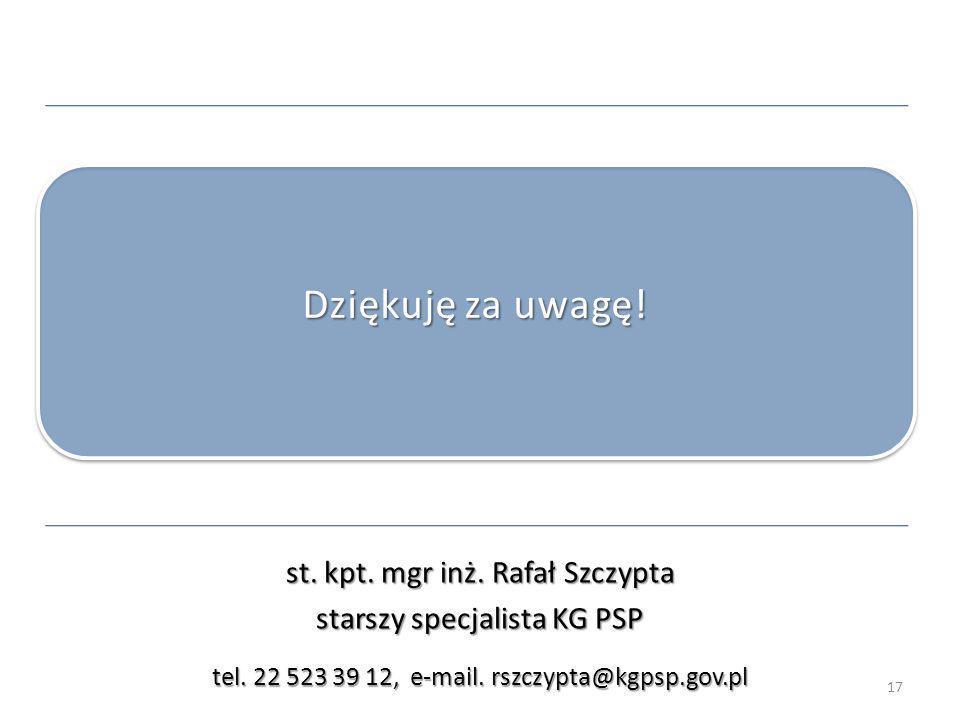 Dziękuję za uwagę! st. kpt. mgr inż. Rafał Szczypta
