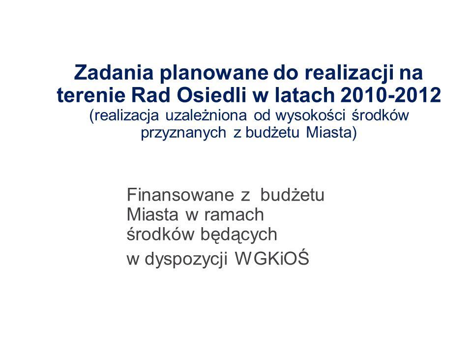 Zadania planowane do realizacji na terenie Rad Osiedli w latach 2010-2012 (realizacja uzależniona od wysokości środków przyznanych z budżetu Miasta)