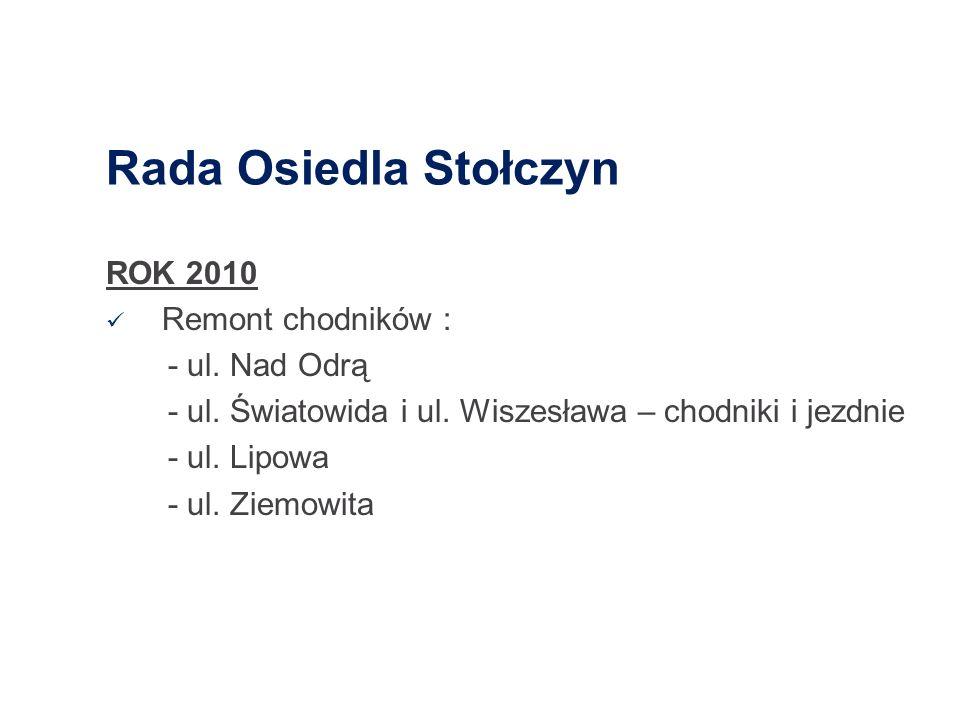 Rada Osiedla Stołczyn ROK 2010 Remont chodników : - ul. Nad Odrą