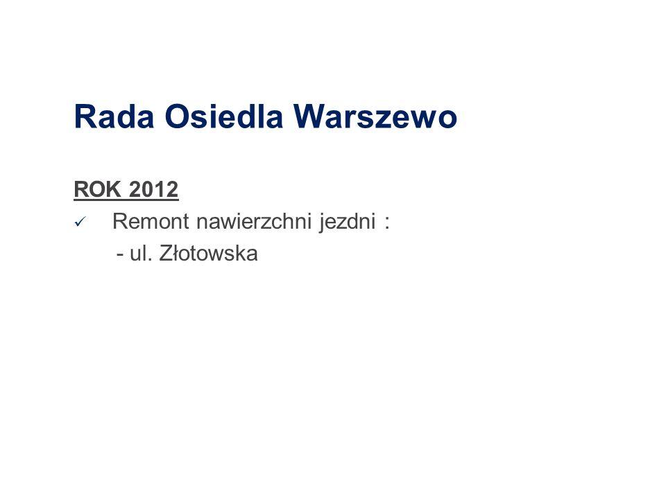 Rada Osiedla Warszewo ROK 2012 Remont nawierzchni jezdni :