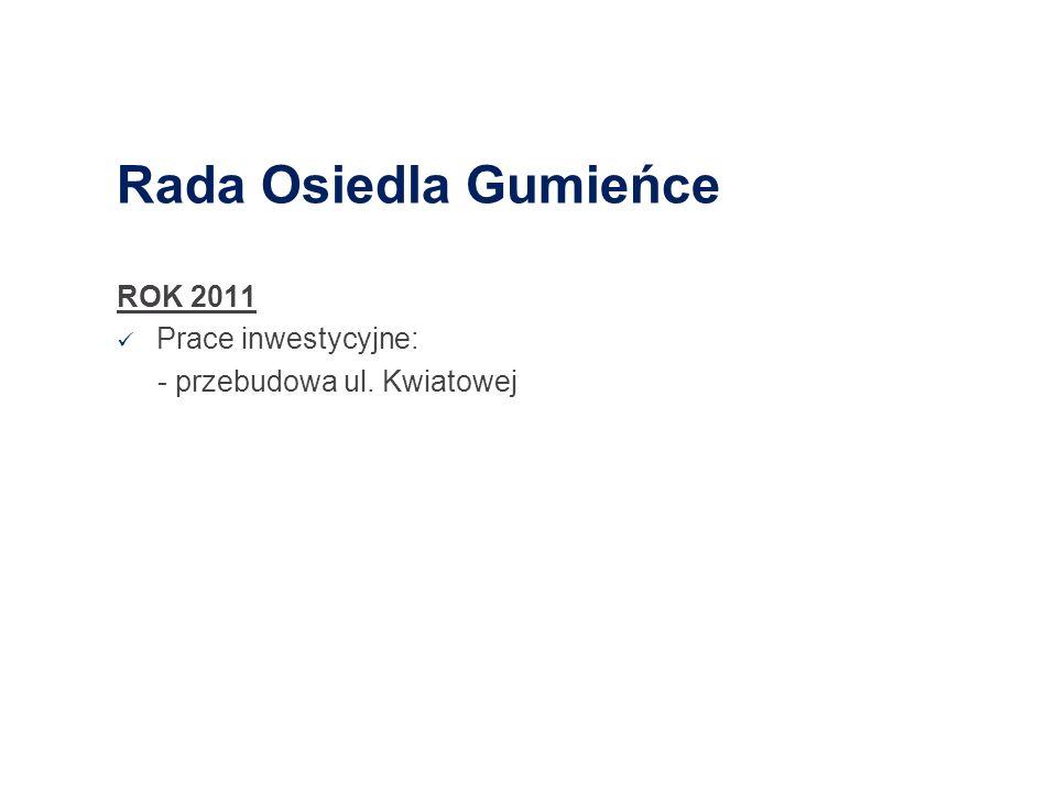 Rada Osiedla Gumieńce ROK 2011 Prace inwestycyjne: