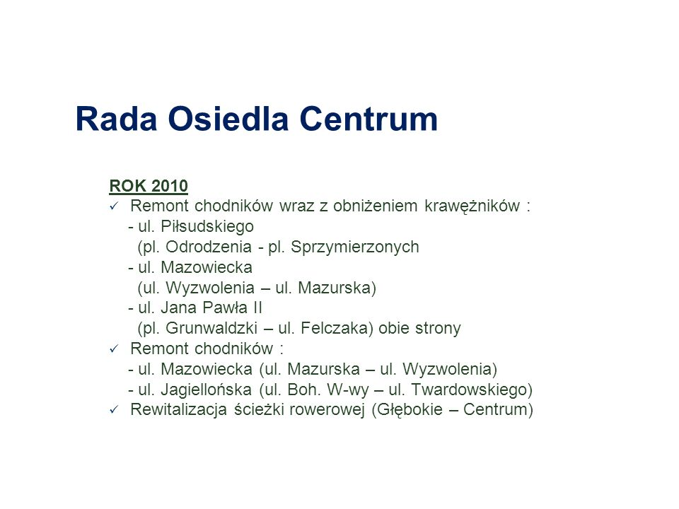 Rada Osiedla Centrum ROK 2010