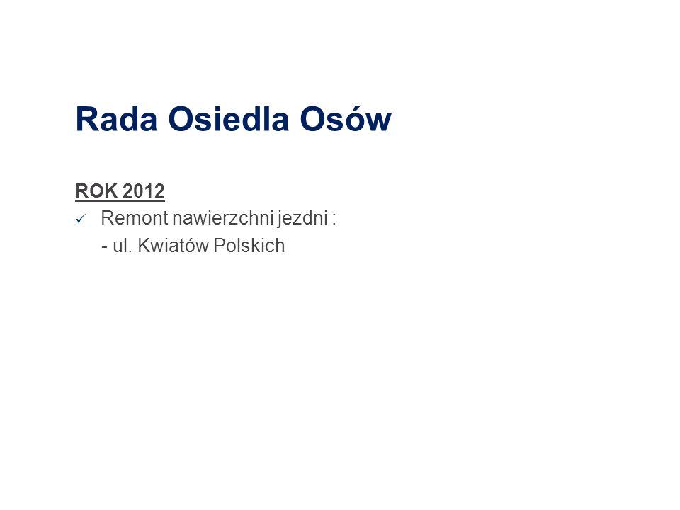 Rada Osiedla Osów ROK 2012 Remont nawierzchni jezdni :