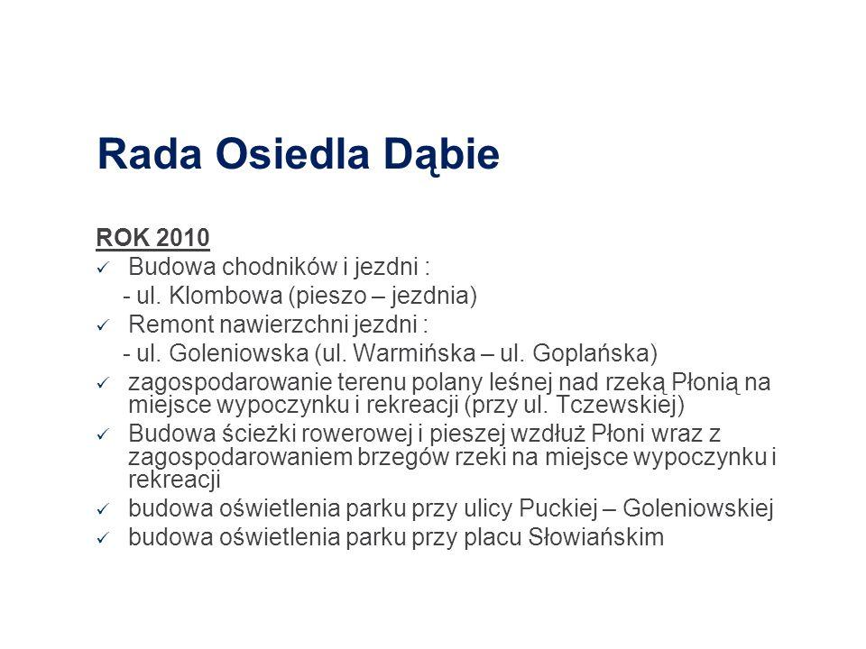 Rada Osiedla Dąbie ROK 2010 Budowa chodników i jezdni :