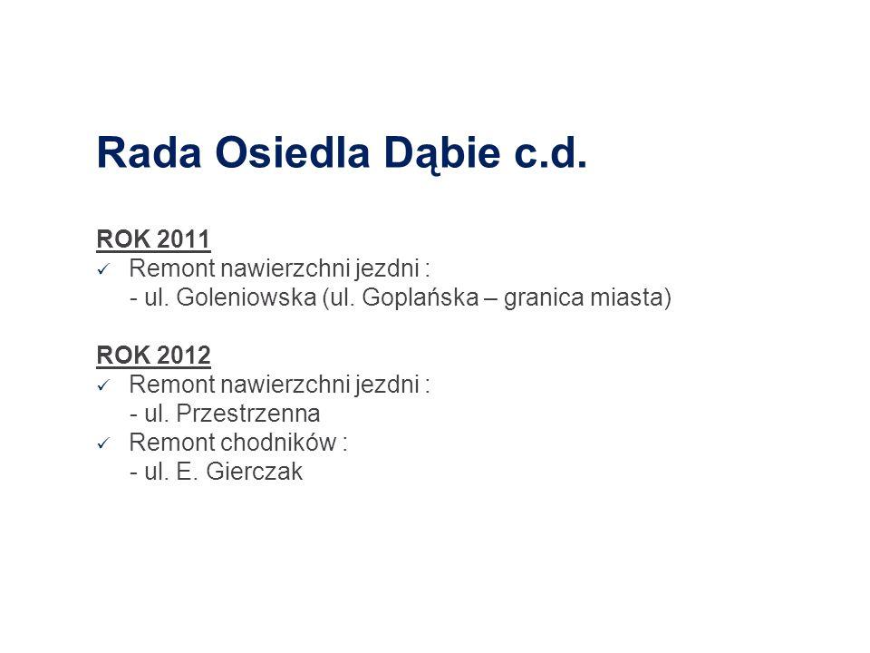 Rada Osiedla Dąbie c.d. ROK 2011 Remont nawierzchni jezdni :