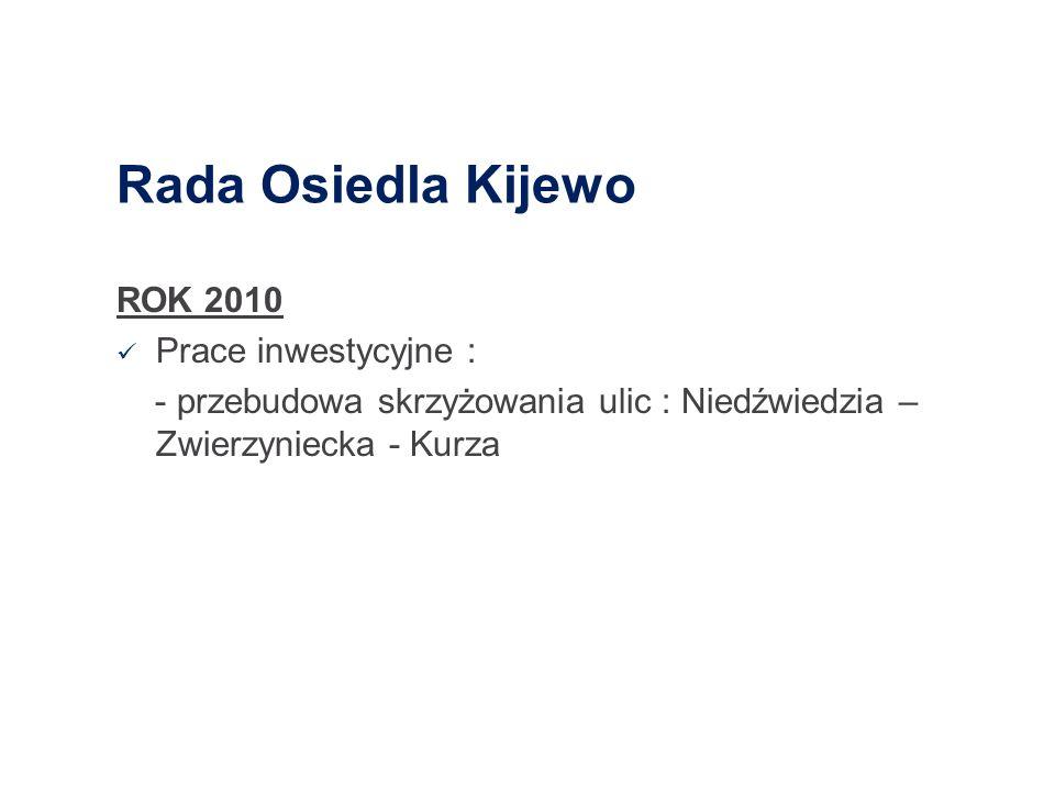 Rada Osiedla Kijewo ROK 2010 Prace inwestycyjne :