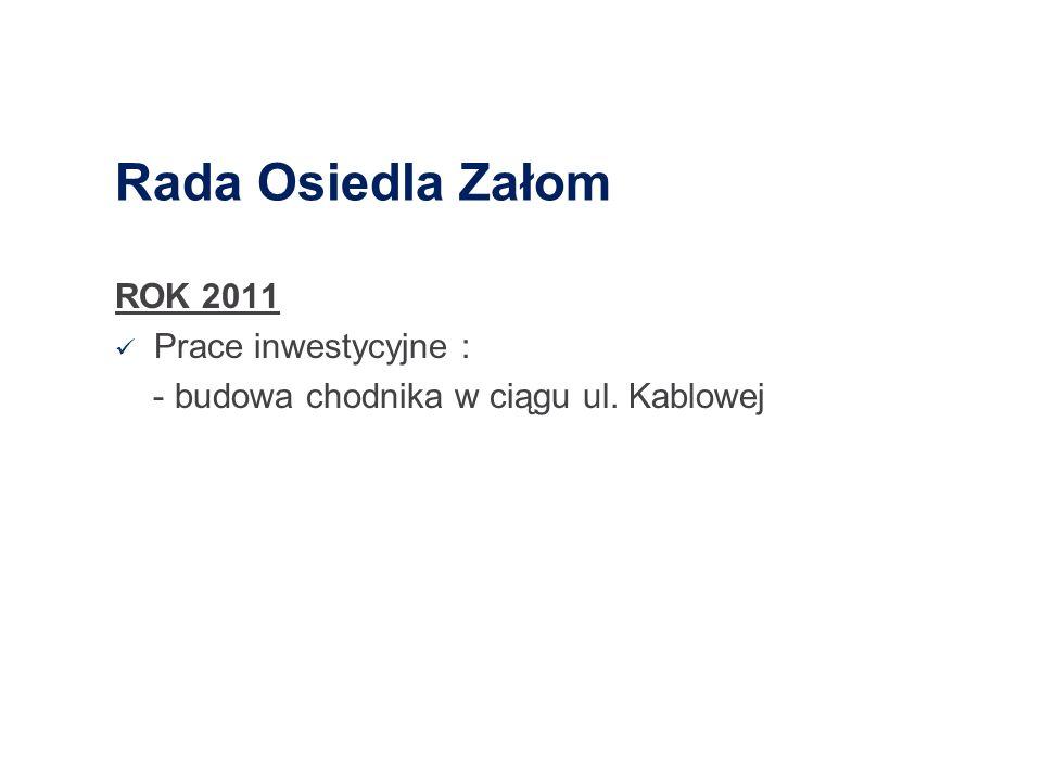 Rada Osiedla Załom ROK 2011 Prace inwestycyjne :
