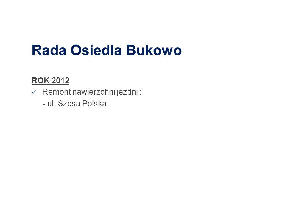 Rada Osiedla Bukowo ROK 2012 Remont nawierzchni jezdni :