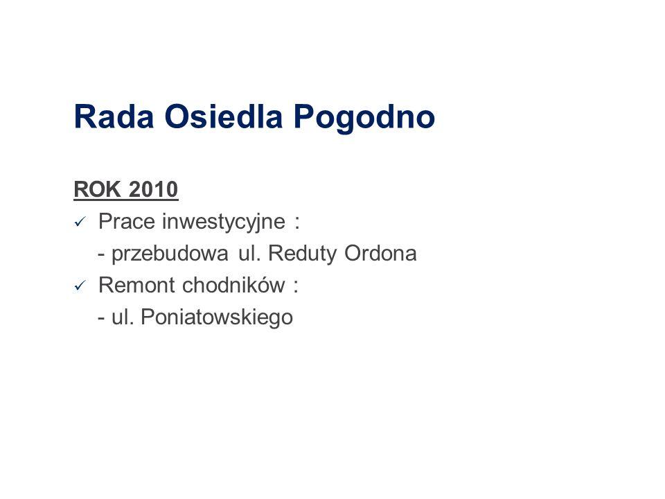 Rada Osiedla Pogodno ROK 2010 Prace inwestycyjne :