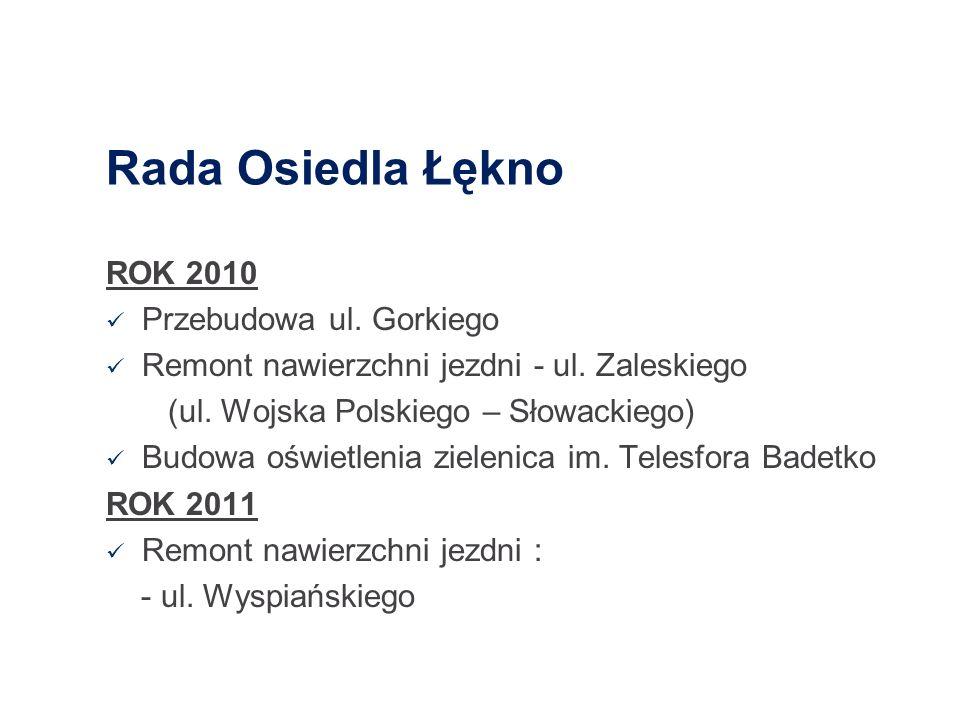 Rada Osiedla Łękno ROK 2010 Przebudowa ul. Gorkiego