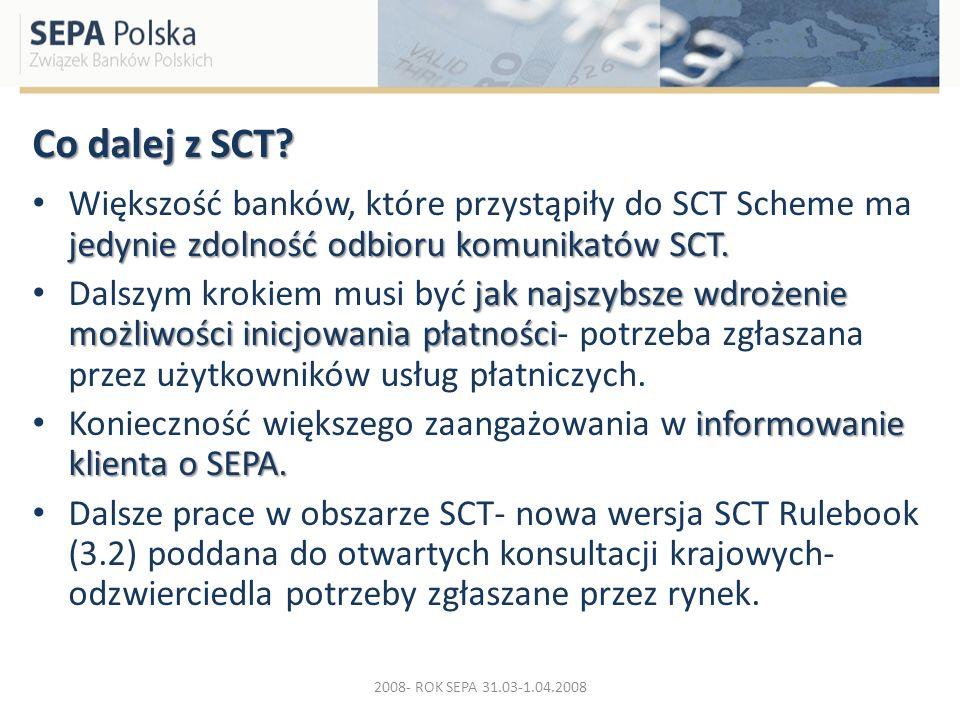 Co dalej z SCT Większość banków, które przystąpiły do SCT Scheme ma jedynie zdolność odbioru komunikatów SCT.