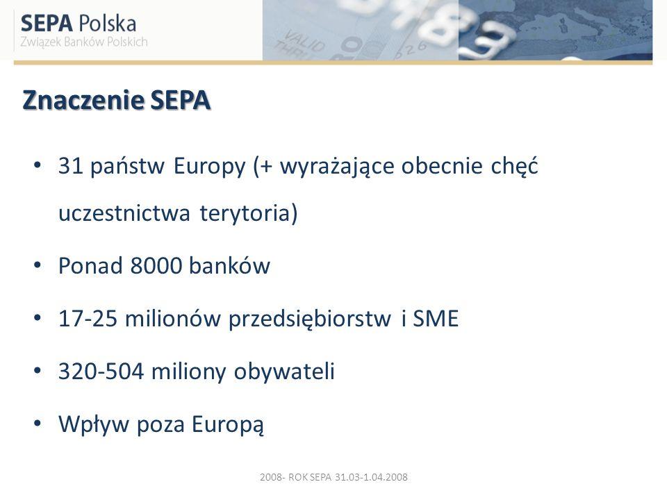 Znaczenie SEPA 31 państw Europy (+ wyrażające obecnie chęć uczestnictwa terytoria) Ponad 8000 banków.