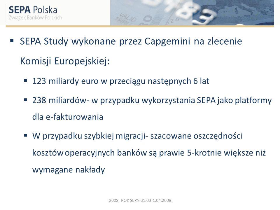 SEPA Study wykonane przez Capgemini na zlecenie Komisji Europejskiej: