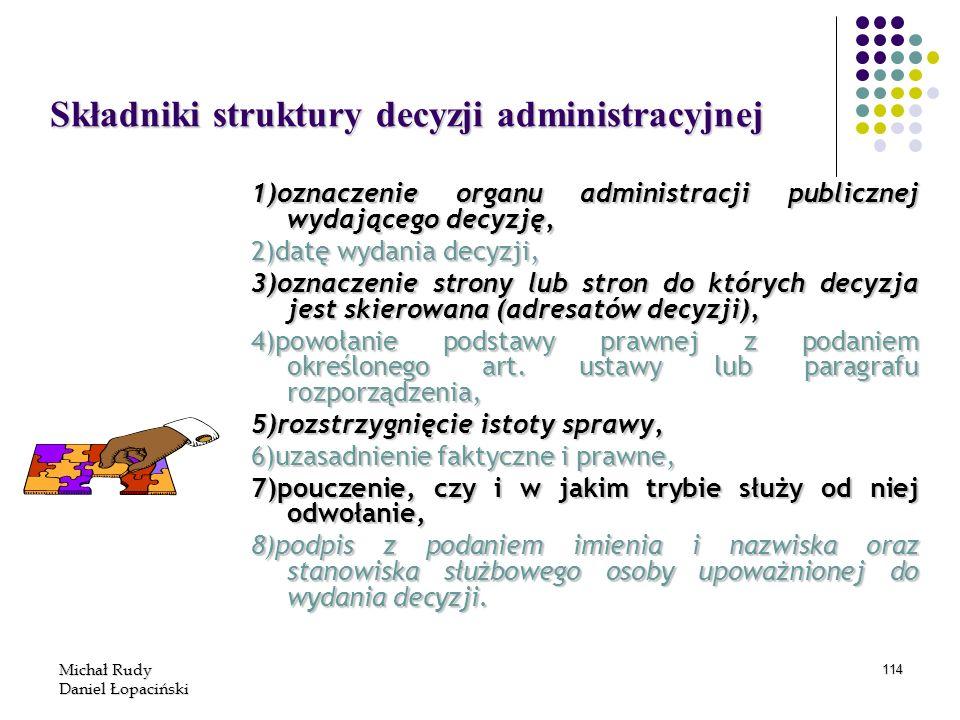 Składniki struktury decyzji administracyjnej