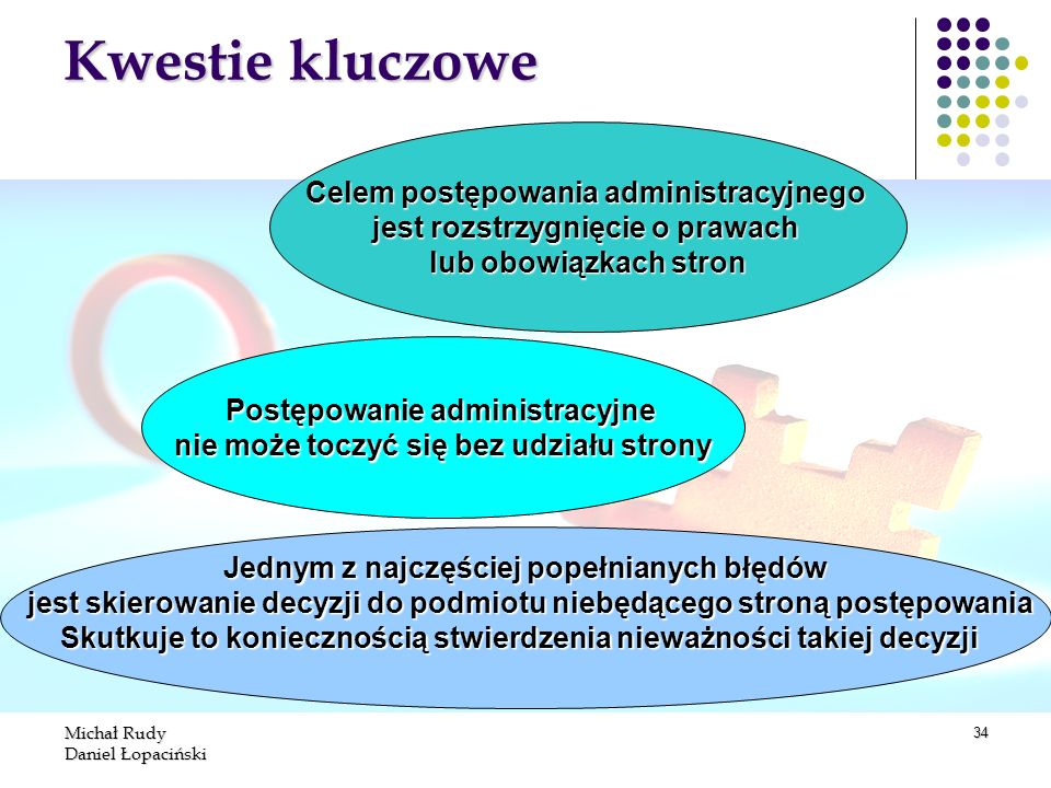 Kwestie kluczowe Celem postępowania administracyjnego