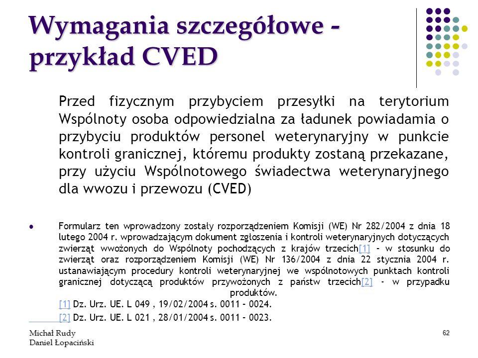 Wymagania szczegółowe -przykład CVED