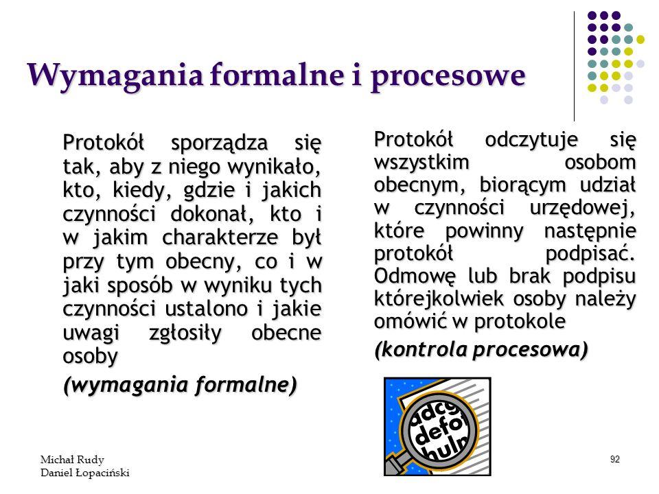 Wymagania formalne i procesowe