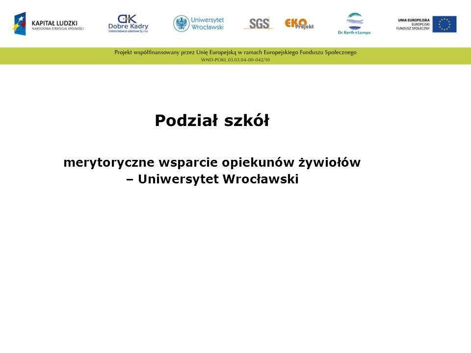 merytoryczne wsparcie opiekunów żywiołów – Uniwersytet Wrocławski