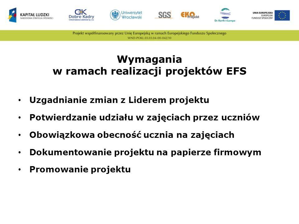 Wymagania w ramach realizacji projektów EFS