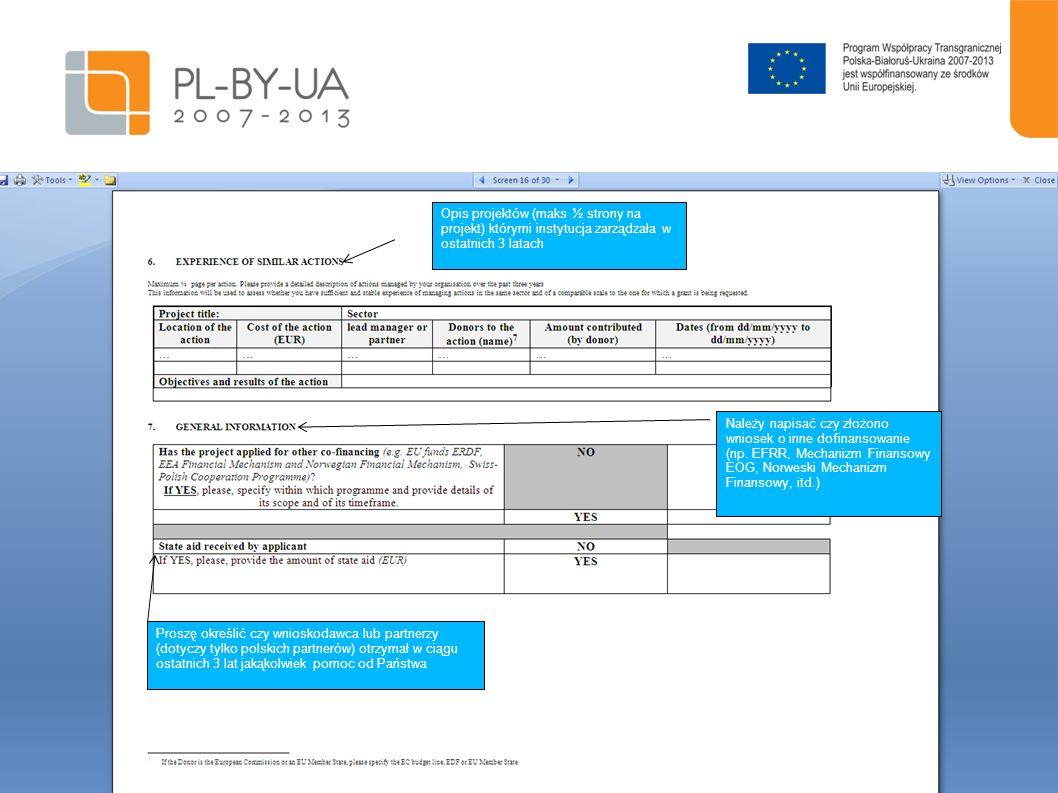 Opis projektów (maks ½ strony na projekt) którymi instytucja zarządzała w ostatnich 3 latach