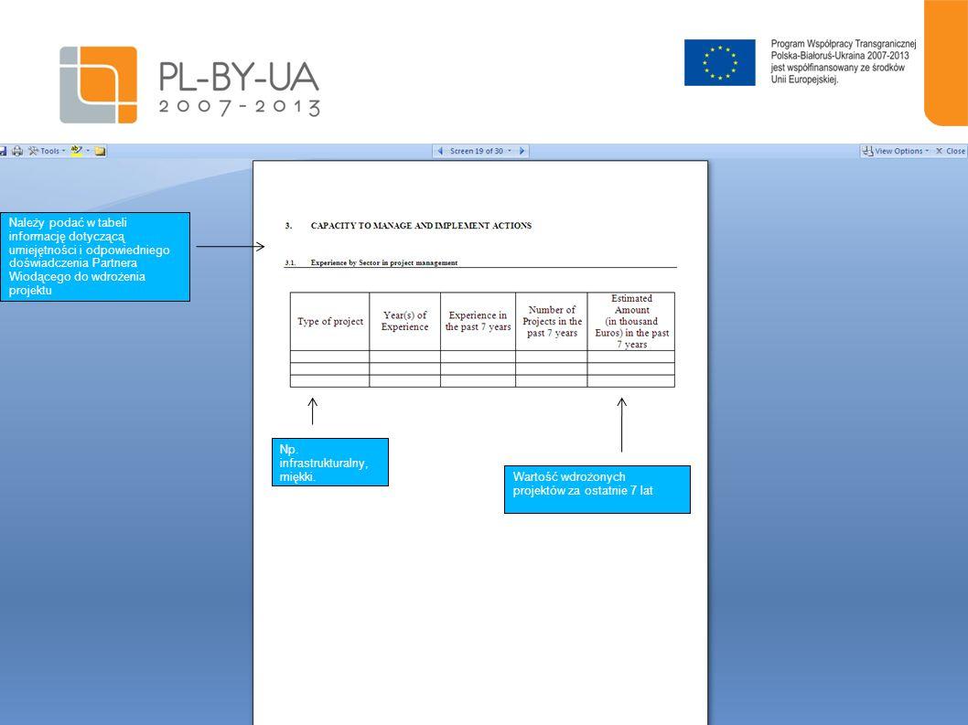 Należy podać w tabeli informację dotyczącą umiejętności i odpowiedniego doświadczenia Partnera Wiodącego do wdrożenia projektu