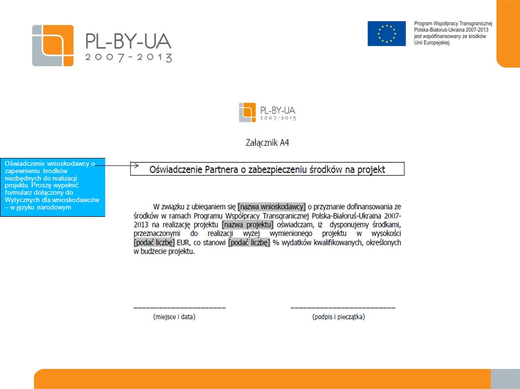 Oświadczenie wnioskodawcy o zapewnieniu środków niezbędnych do realizacji projektu.