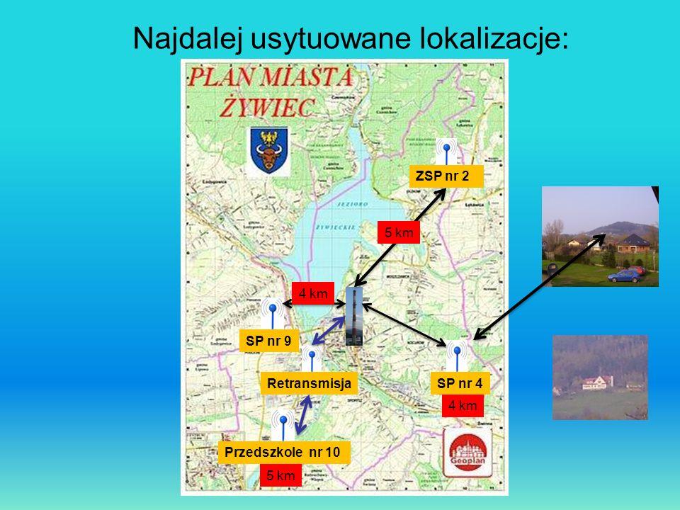 Najdalej usytuowane lokalizacje: