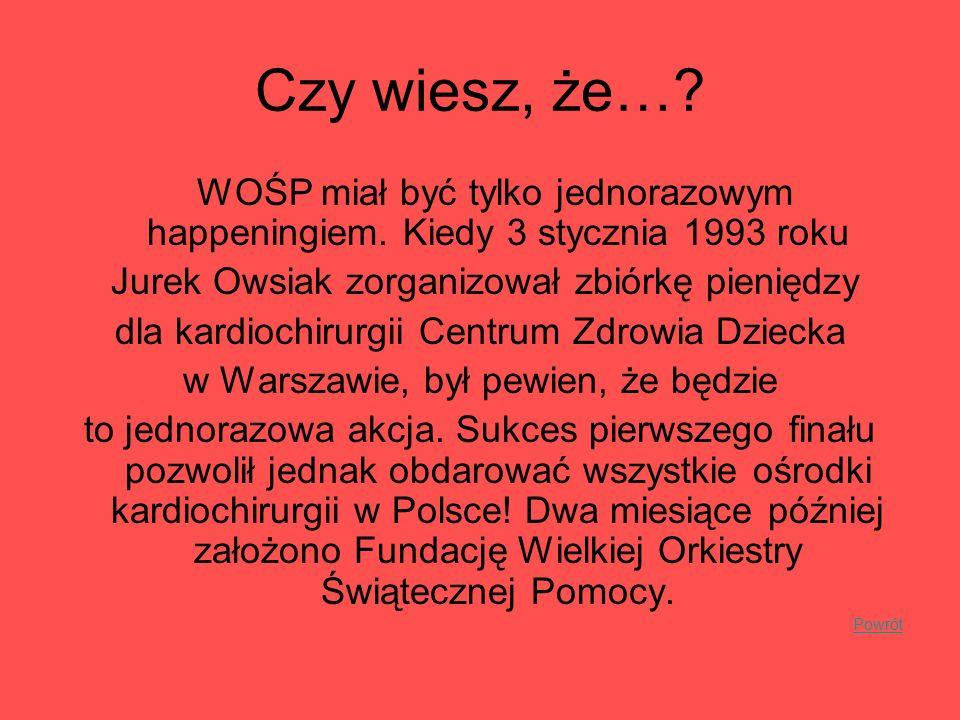 Czy wiesz, że… WOŚP miał być tylko jednorazowym happeningiem. Kiedy 3 stycznia 1993 roku. Jurek Owsiak zorganizował zbiórkę pieniędzy.