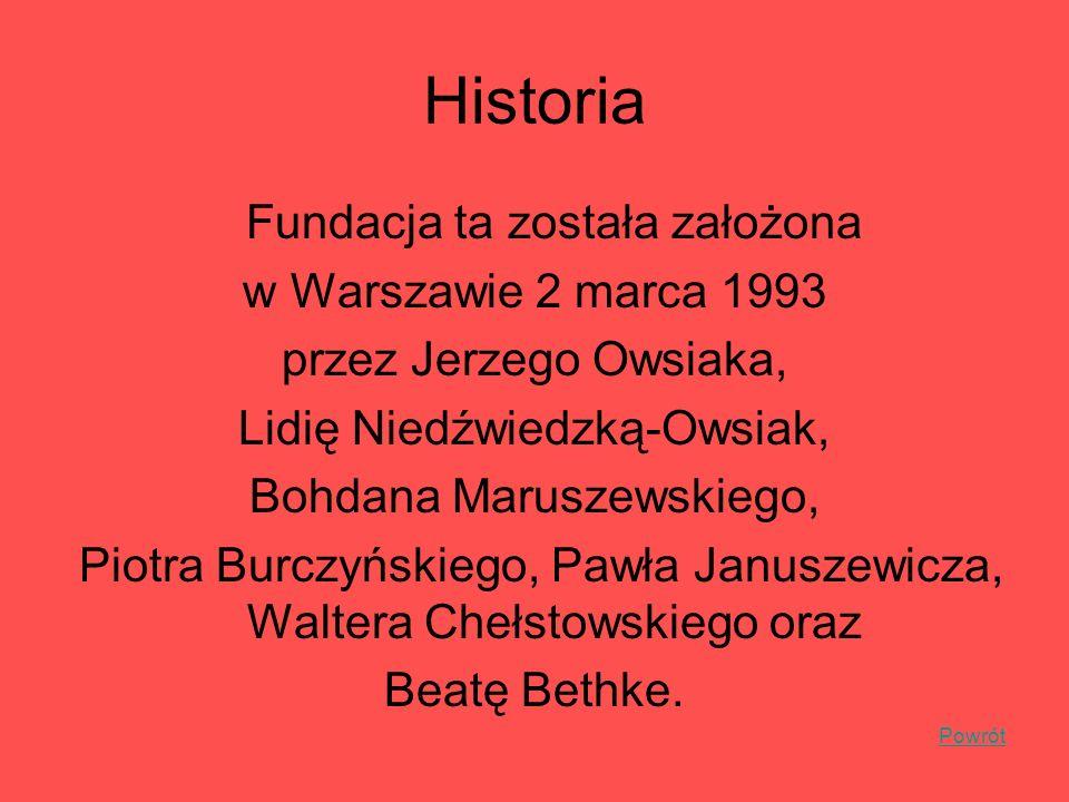 Historia Fundacja ta została założona w Warszawie 2 marca 1993