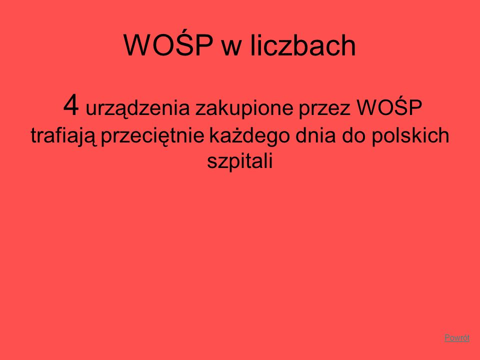 WOŚP w liczbach4 urządzenia zakupione przez WOŚP trafiają przeciętnie każdego dnia do polskich szpitali.