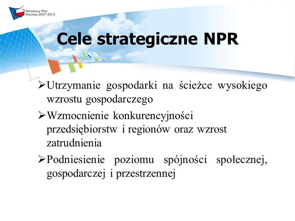 Cele strategiczne NPR Utrzymanie gospodarki na ścieżce wysokiego wzrostu gospodarczego.