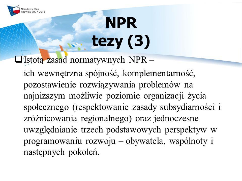 NPR tezy (3) Istotą zasad normatywnych NPR –
