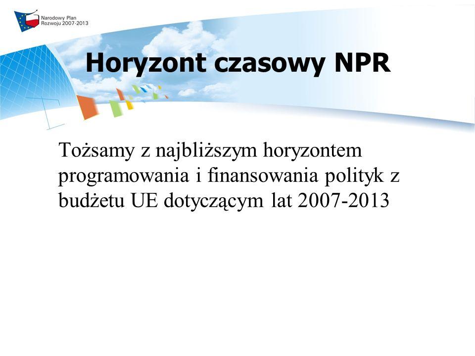 Horyzont czasowy NPR Tożsamy z najbliższym horyzontem programowania i finansowania polityk z budżetu UE dotyczącym lat 2007-2013.